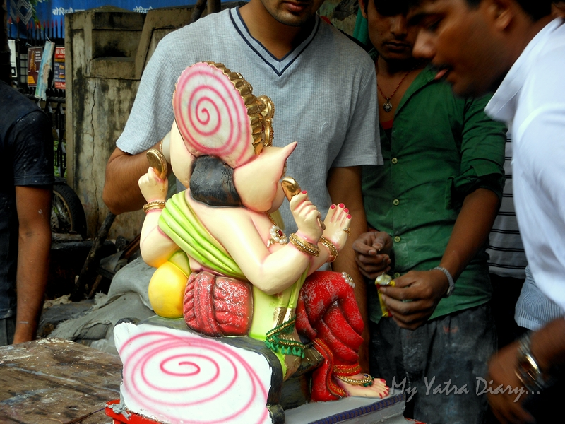 Ganesha just before sthapana, Ganesh Chaturthi Festival, Mumbai