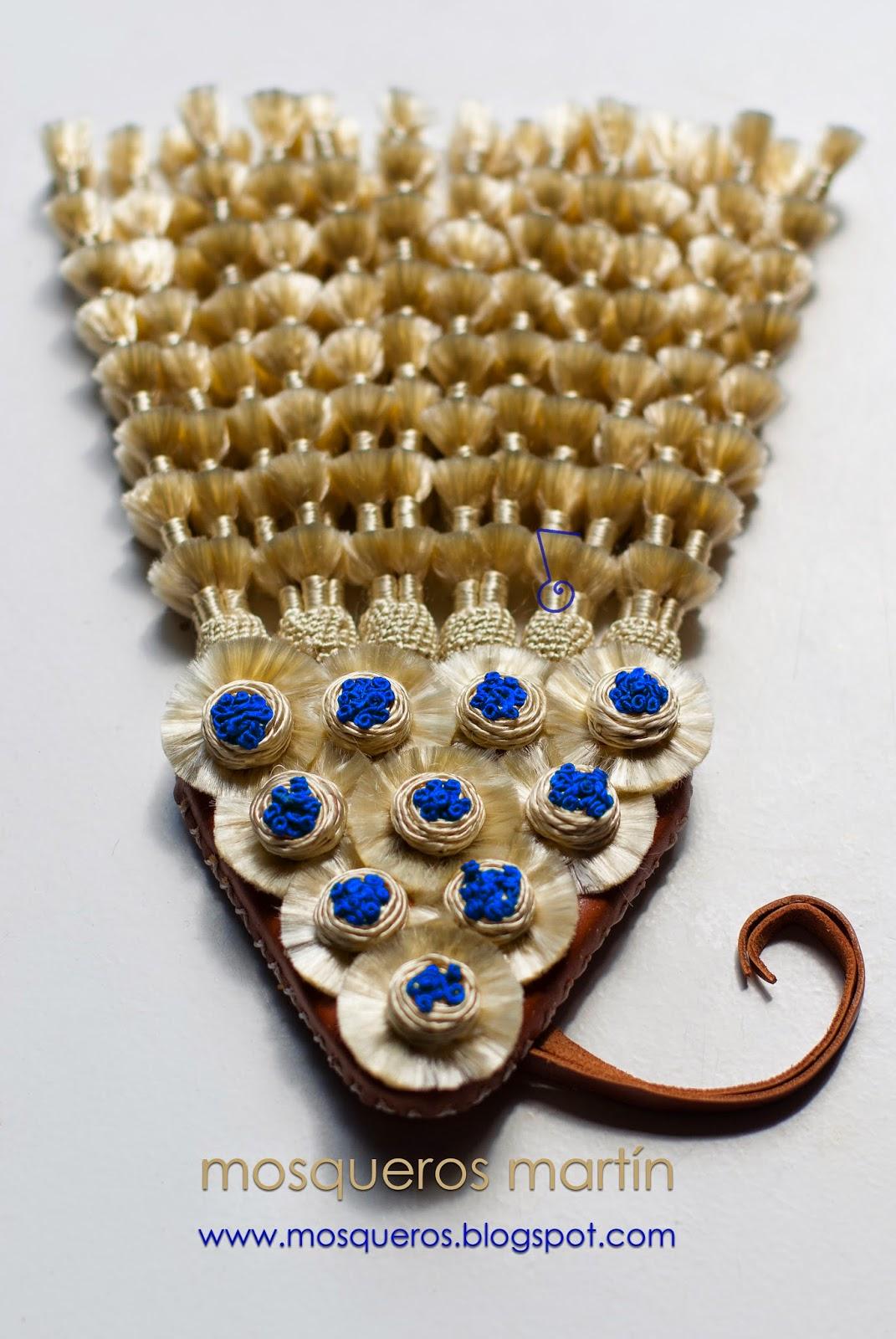 Mosquero de seda beige - azul