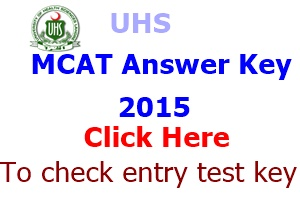 Entry Test Answer Key 2015