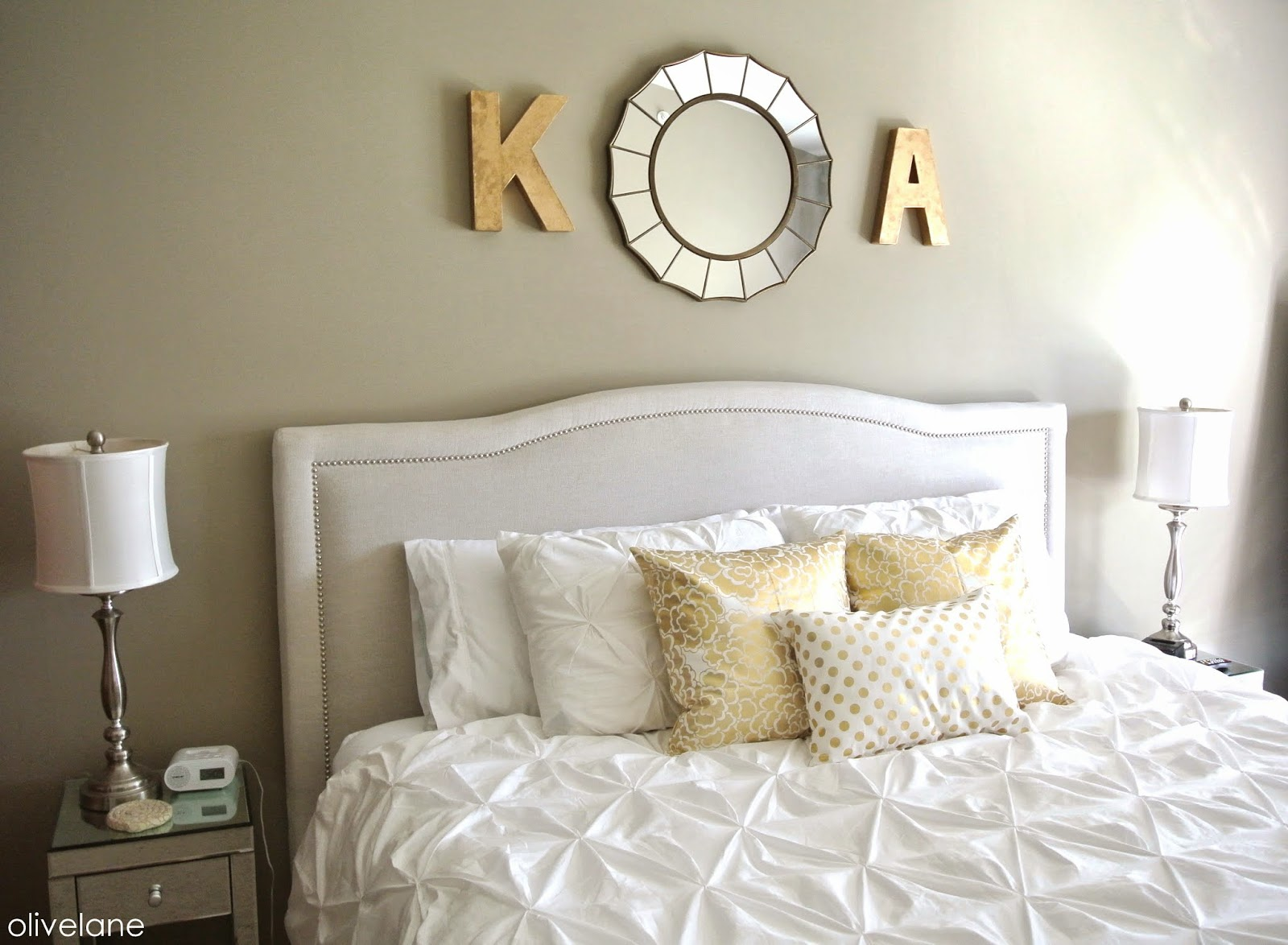 Olive lane master bedroom update gold white - White and gold room ...