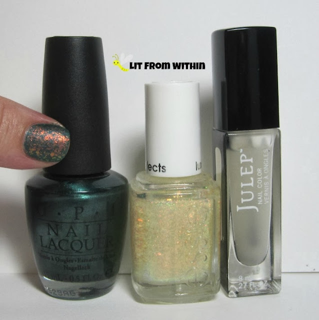 Bottle shot:  OPI Cuckoo For This Color, Essie Shine of the Times, and Julep Matte Top Coat.