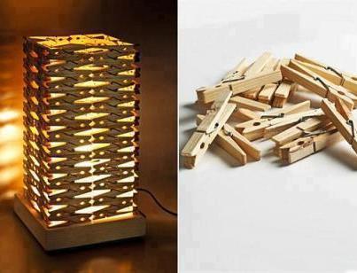 Lampu tidur dari penyepit baju kayu