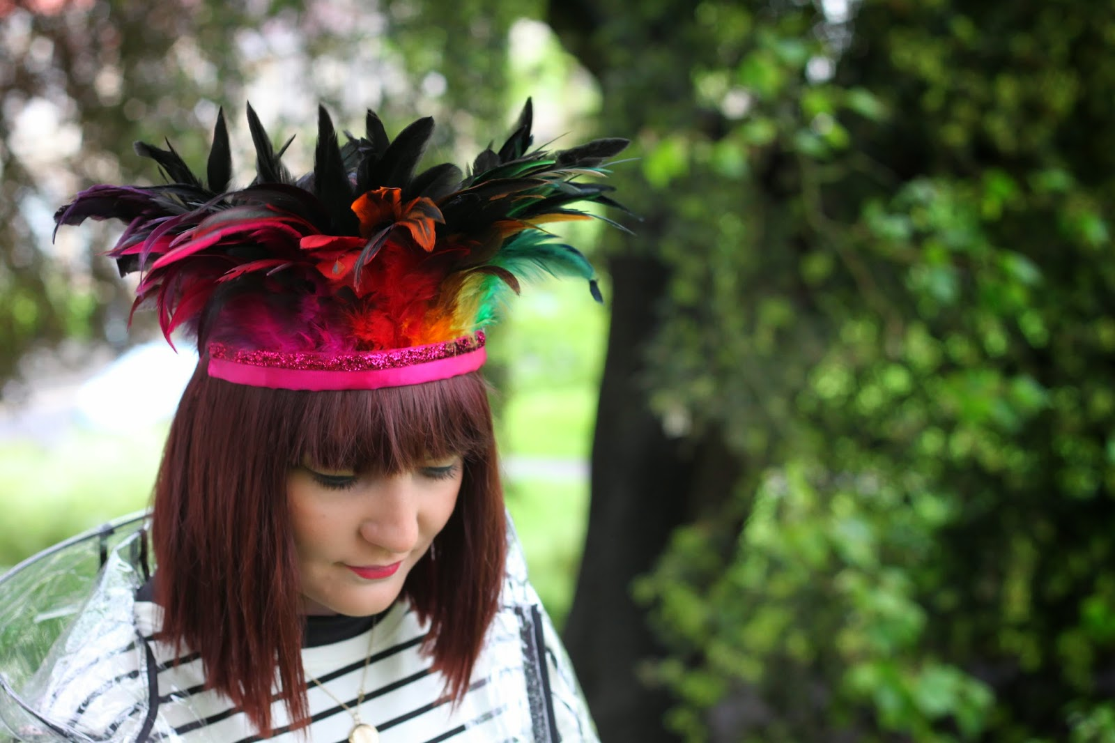 dulcie's feathers, festival, costume, feather headdress, rainbow