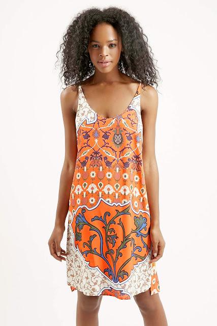 orange sundress, orange print dress,