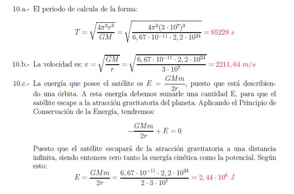 Examenes de selectividad campo gravitatorio problema resuelto 10