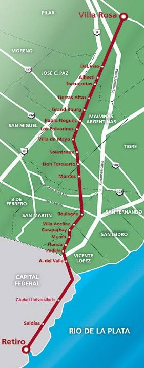 Recorrido y estaciones del Tren Belgrano Norte