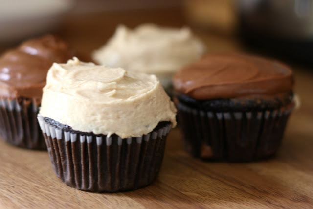 ... with peanut butter bourbon frosting. and chocolate coffee frosting
