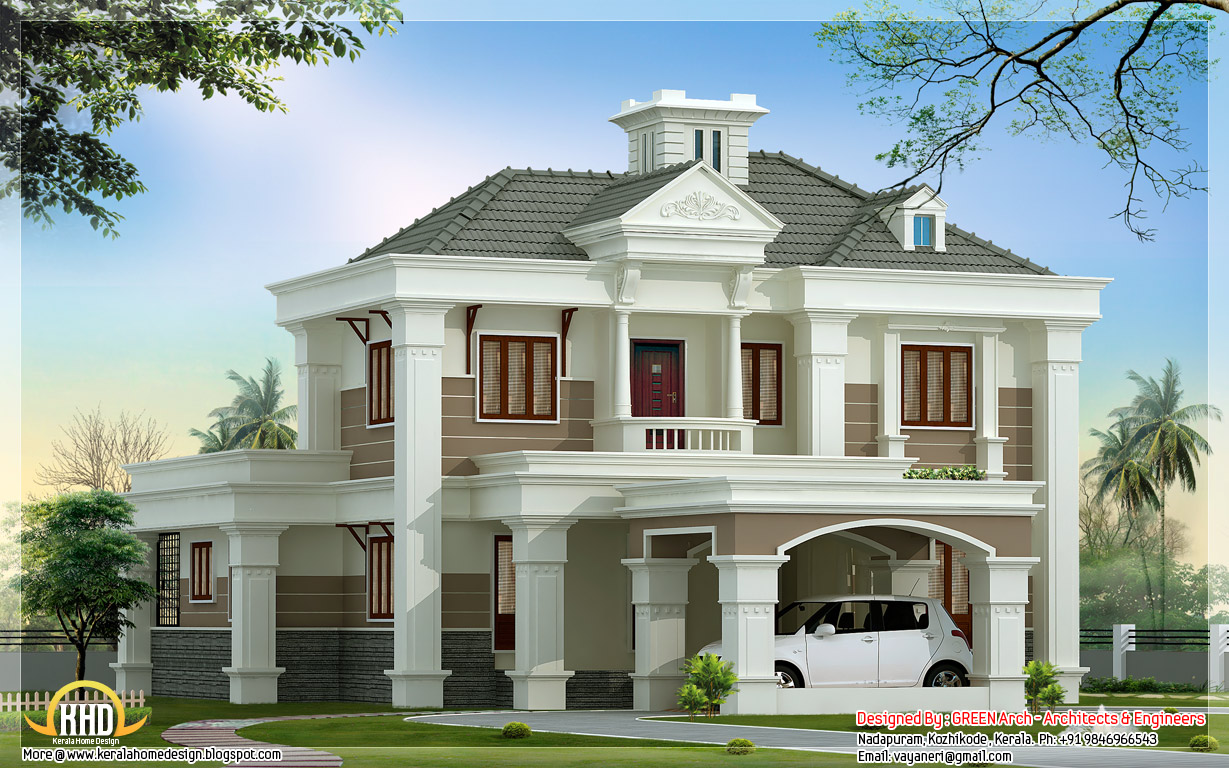 Exterior collections kerala home design 3d views of for Home plan collection