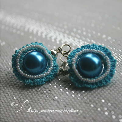 Tutorial Irish crochet earrings with beads made by Gunadesign