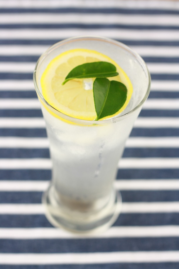 homemade lemonade with kaffir lime leaves
