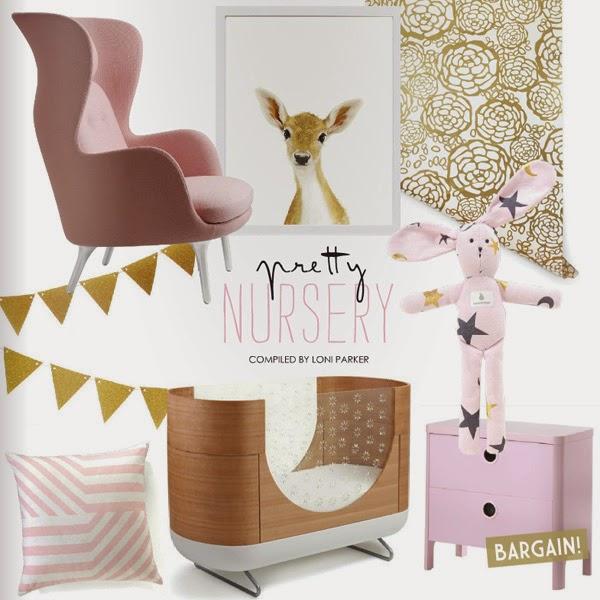 decoración infantil niña tonos rosa empolvado y dorado oro