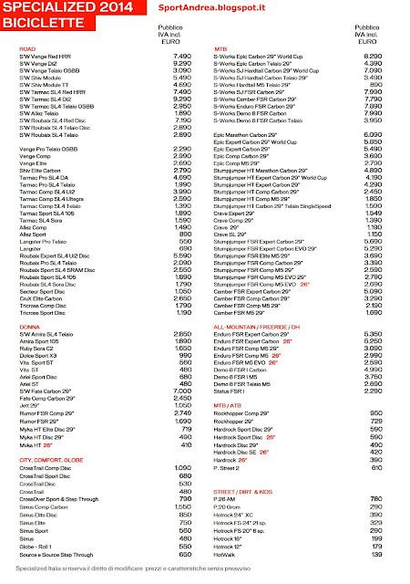 Listini Prezzi Specialized 2014
