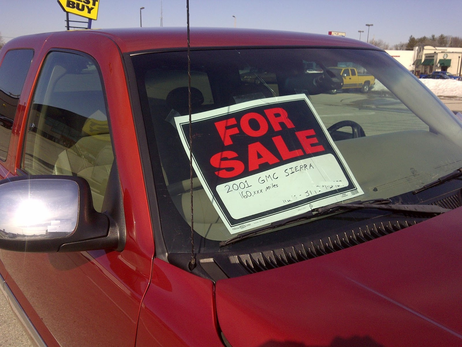 Truck with for sale sign on windshield