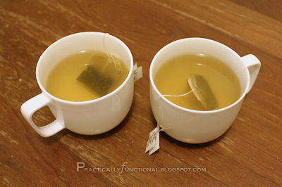 Two mugs of green tea