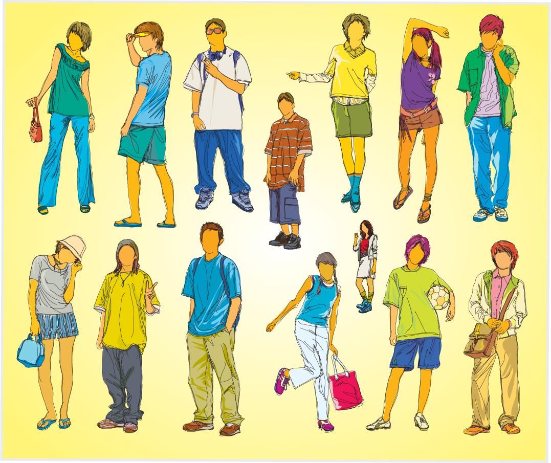 カジュアルな服装の若者 sketches of the young generation イラスト素材
