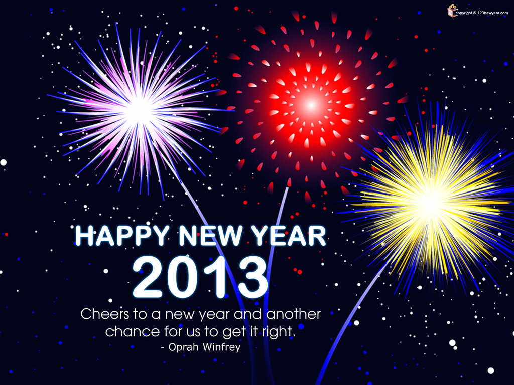 fire works new year 2013 wallpaper greetings card free download