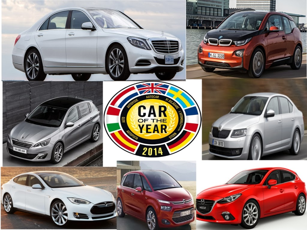 """Die sieben Finalisten zur Wahl zum """"Auto des Jahres"""" 2014 stehen fest. Neben der Mercedes S-Klasse (W222) kämpfen noch der Peugeot 308, Citroen C4 Picasso, Mazda3 sowie der Skoda Octavia und die beiden Elektroautos BMW i3 und das Tesla Model S um den begehrten Titel."""