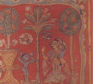 The infant Krishna is tied to a huge mortar by his foster-mother Yashoda to keep him from mischief. In this of depicted episode from his childhood, Krishna proves his superhuman strength by pulling the mortar after him between two trees, which he thus uproots. Manuscript illustration from west India. Fifteenth century. Victoria and Albert Museum, London.