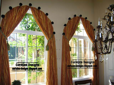 Arched windows curtains on the hooks, Arched windows treatmentes ...
