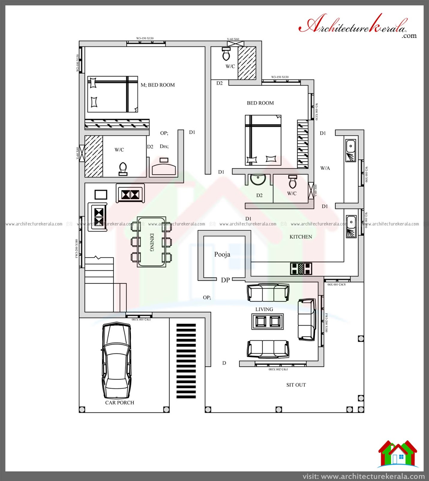 4 bed house plan with pooja room architecture kerala for Four room house design