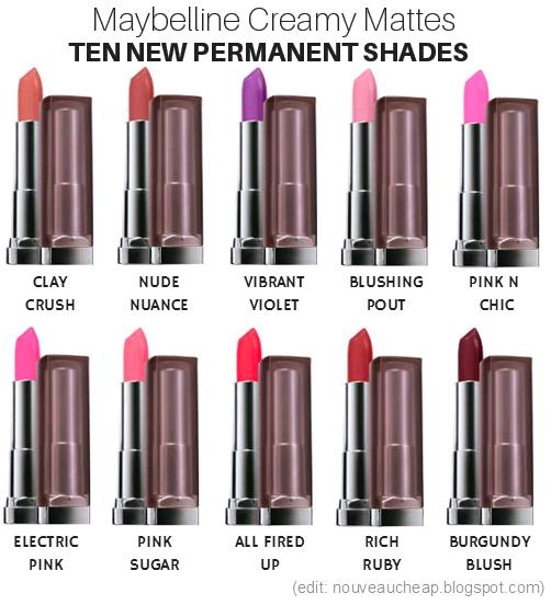 a picture of Nouveau Cheap 10 New Maybelline Creamy Matte shades