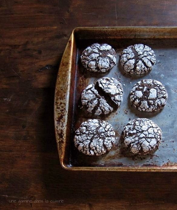 Dark Chocolate Ginger Molasses Crackle Cookies | une gamine dans la cuisine