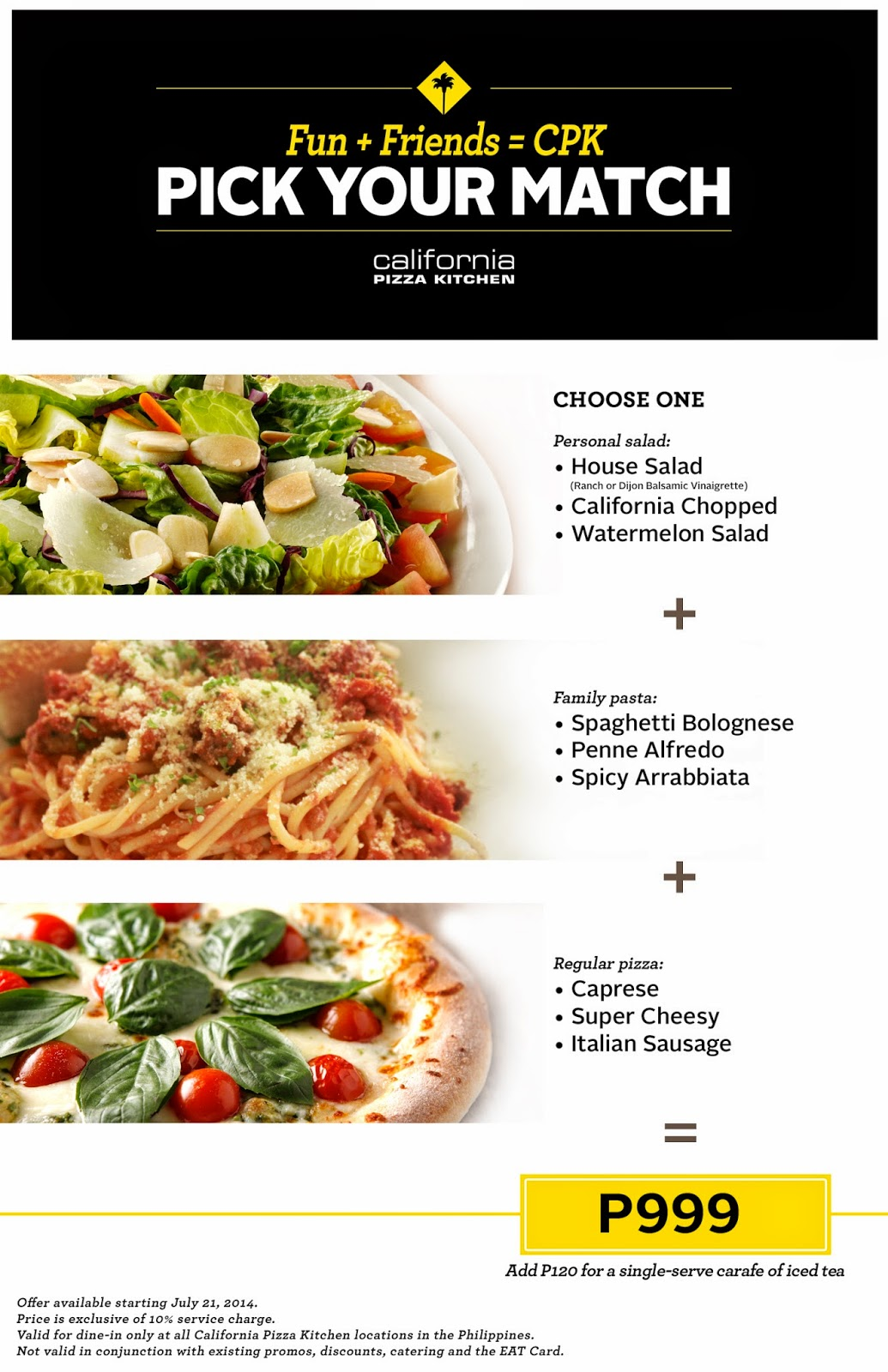 Pick your match promo at california pizza kitchen for W kitchen verbier menu