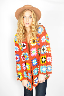 Vintage 1970's multi-colored granny square knit bell sleeved cardigan