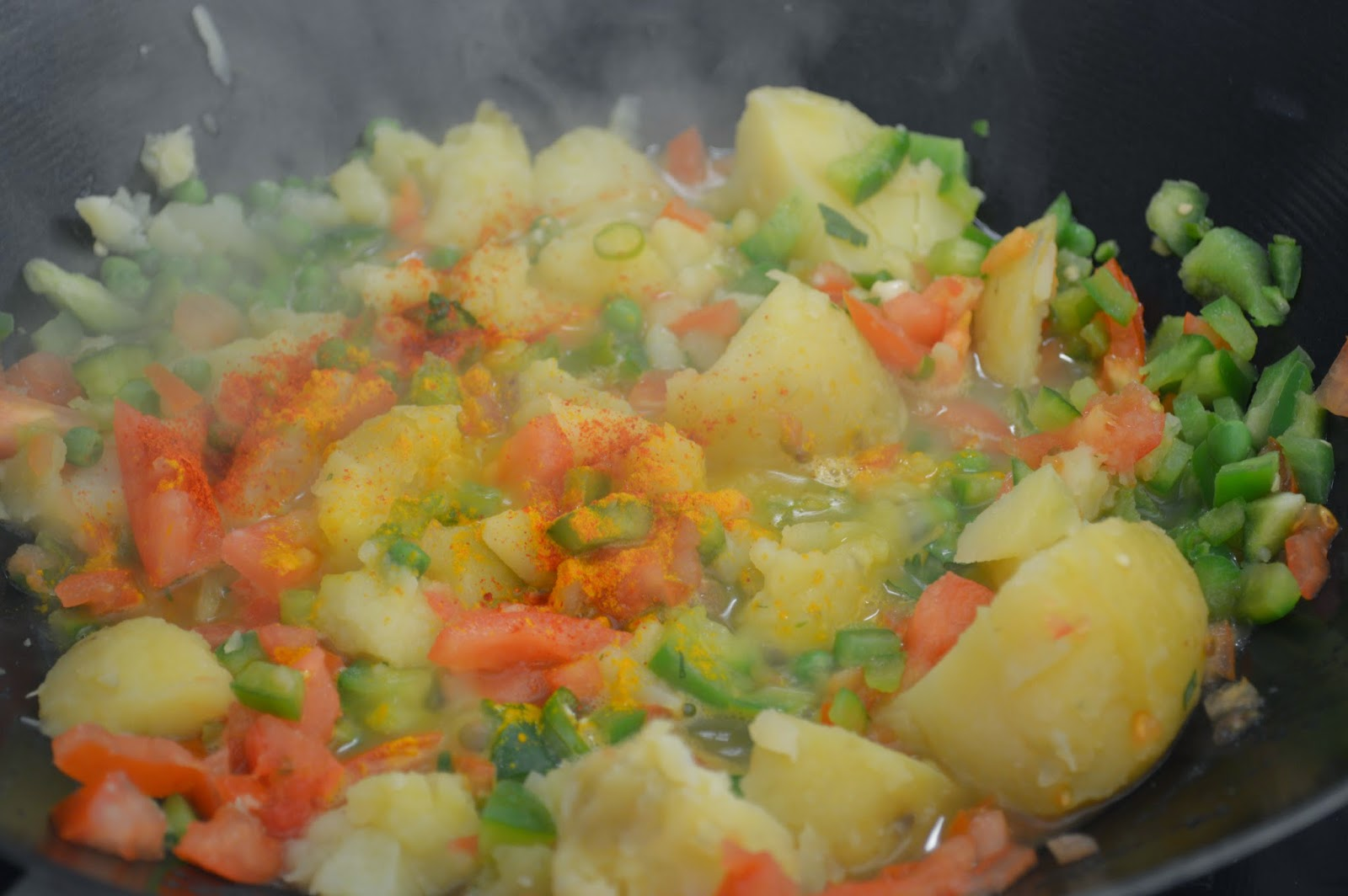 Heat butter, add potatoes,pepper,peas,tomatoes, chilly and spices