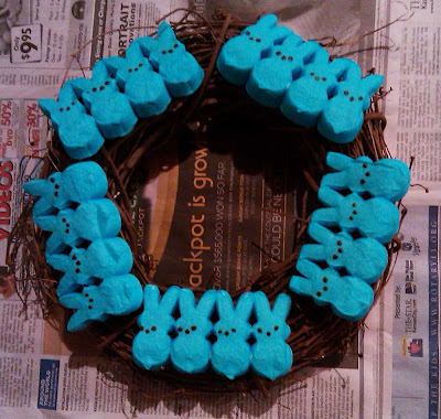 Easter Peeps wreath in progress