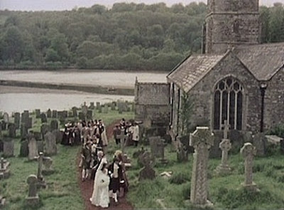 Scene from Poldark showing St Winnow's church