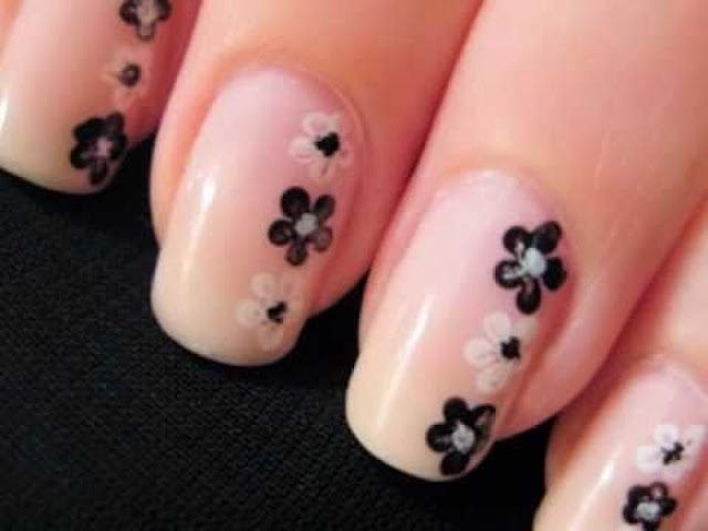 Beige Nail Art With Small Black & White Flowers