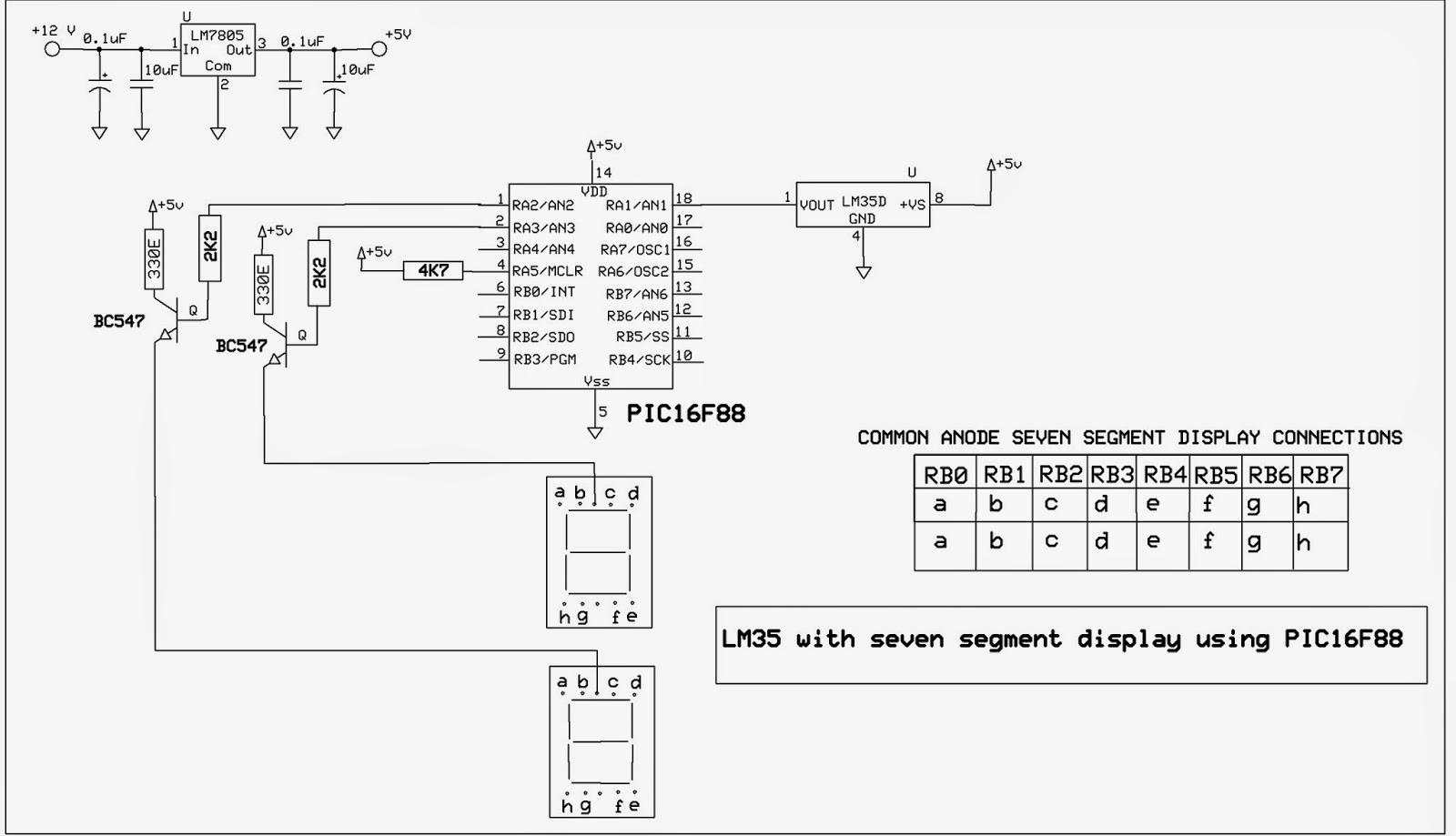 Ham Radio Mipl  Lm35 Thermometer Using Pic16f88