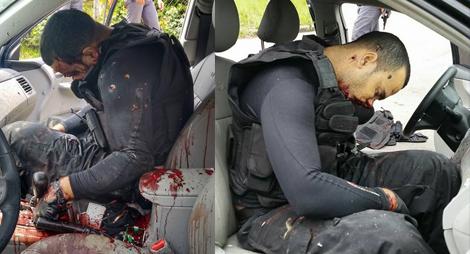 Quatro assaltantes de banco morrem após troca de tiros com a PM dentro de um Corola