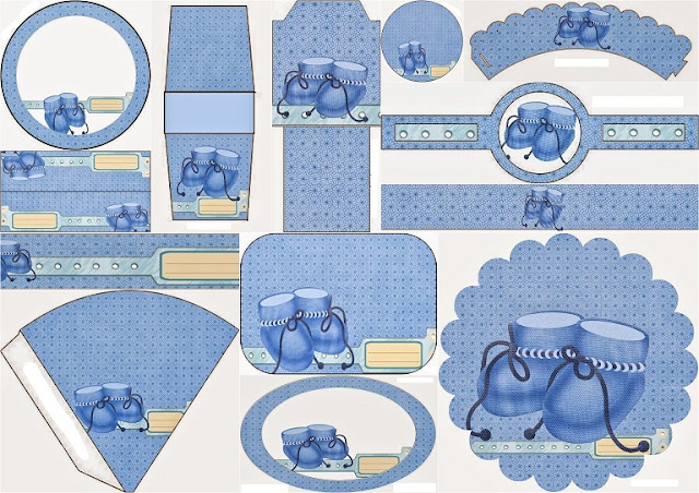 Baby Shoes in Light Blue: Free Printable Kit.