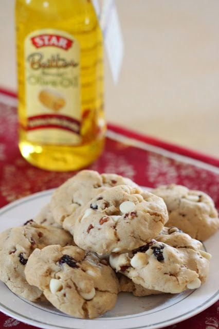 Olive Oil Cookies with White Chocolate, Cranberries and Pecans