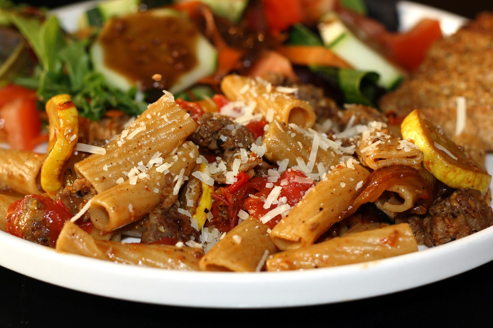 ... for dinner?: pasta with peppers, squash, and tomatoes... 45 minutes