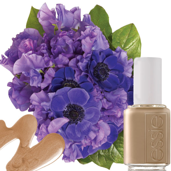 nail and bouquet color-coordinate