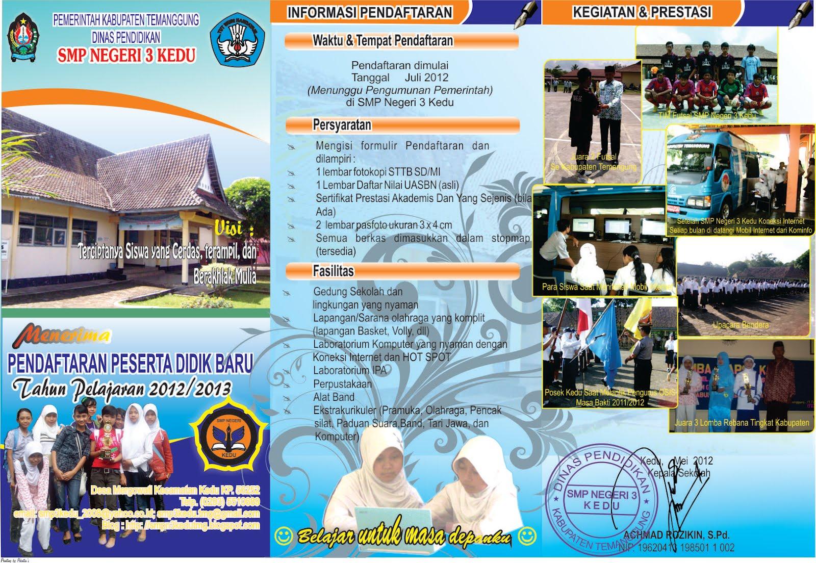 Tahun Pelajaran 2011/2012, SMP Negeri 3 Kedu Membuka Pendaftaran