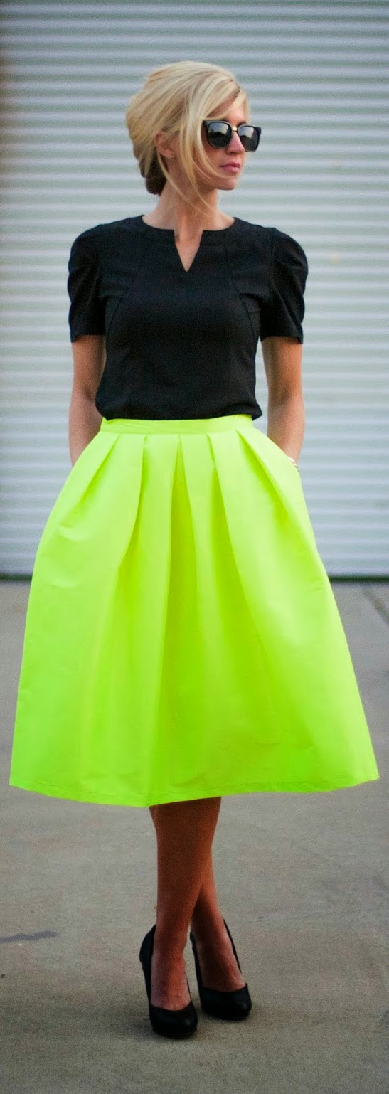 Pop Neon Yellow Skirt with Black Top | Chic Street Outfits