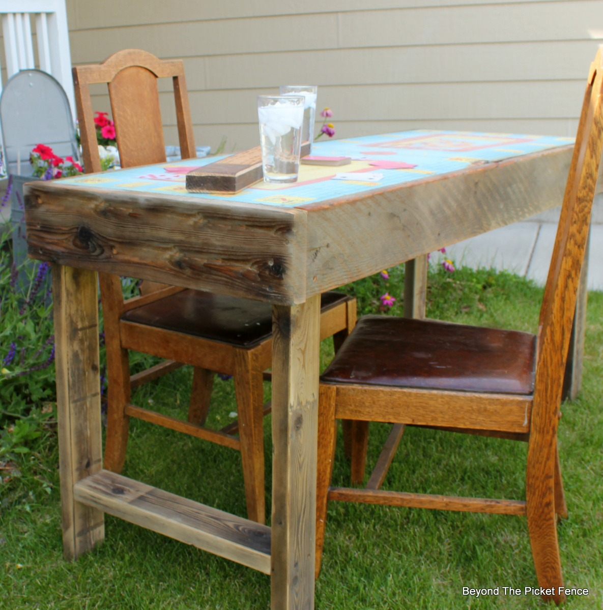 Metal, Rusty, Game Table, Vintage, Reclaimed Wood, Beyond The Picket Fence