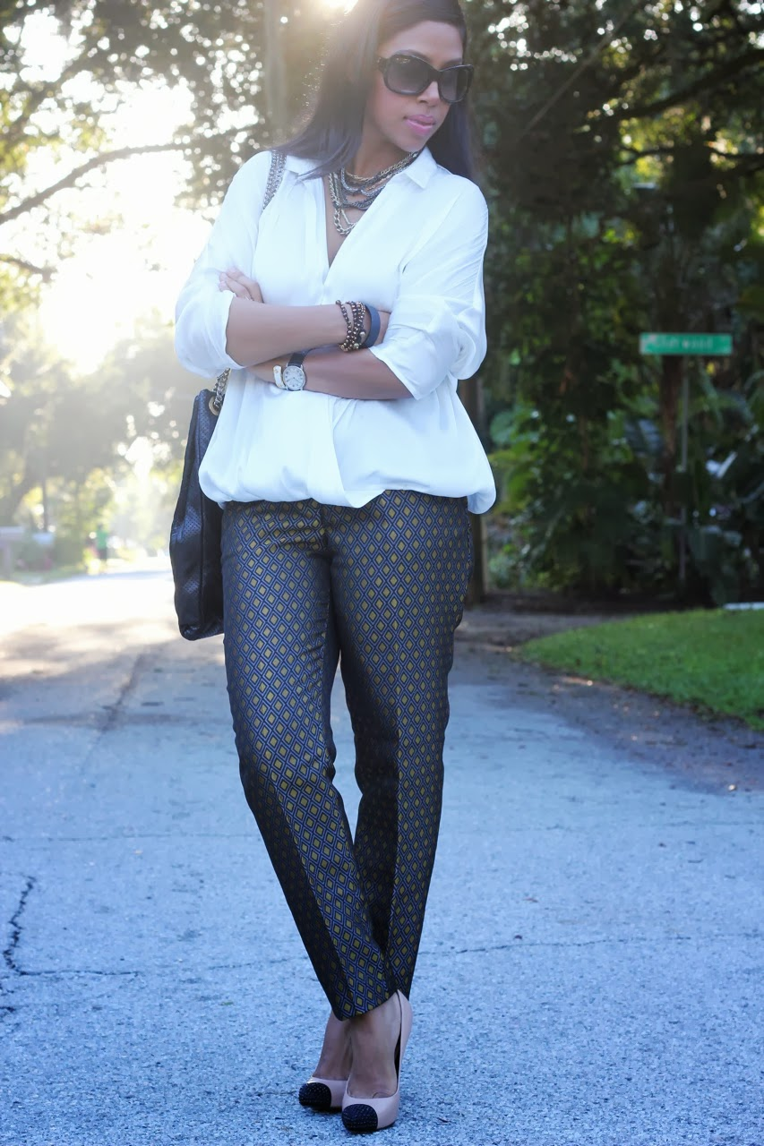 H&M printed jacquard skinny pants white blouse zara chanel accessories arm candy