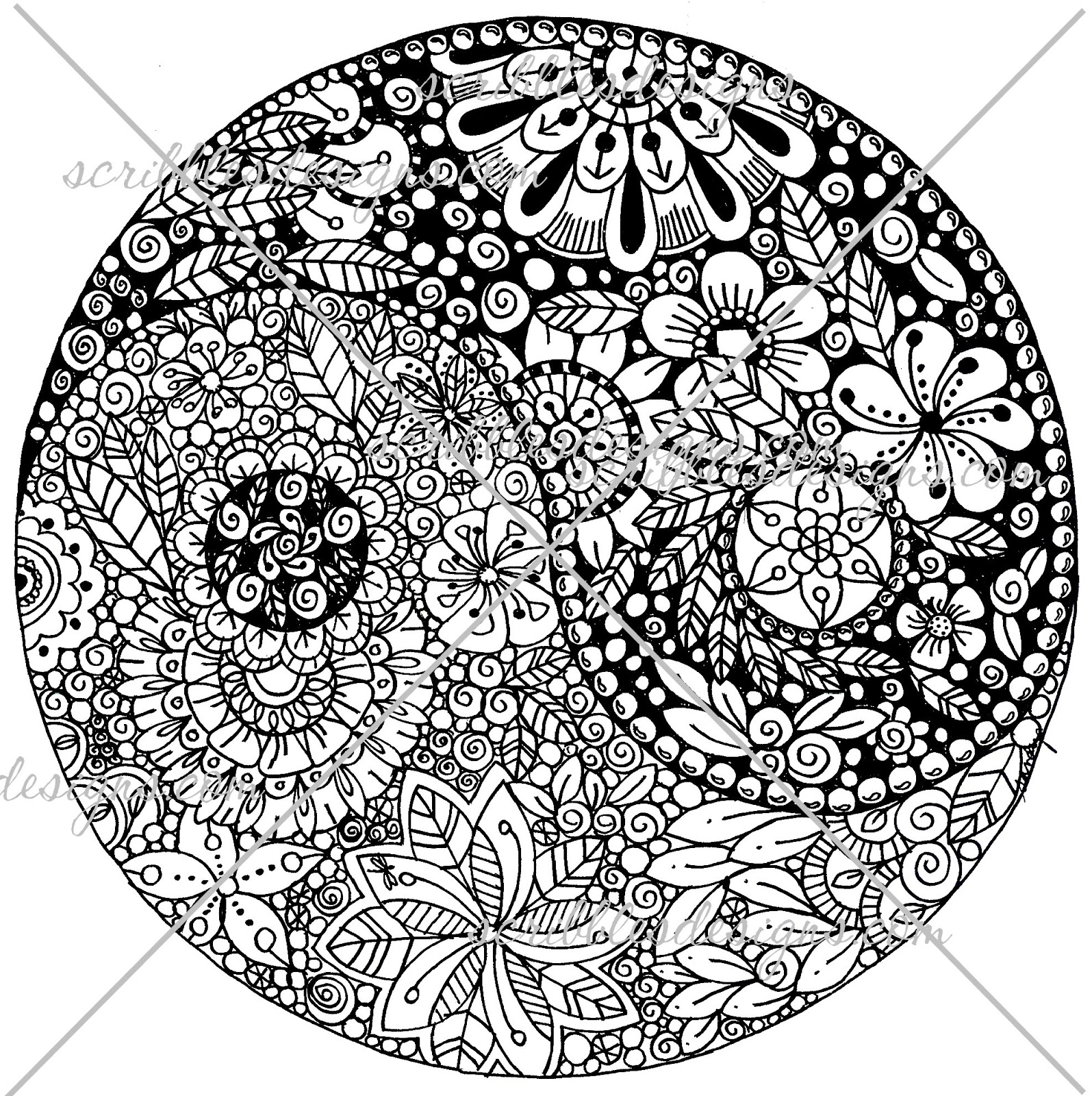 Scribbles designs a 51 flower ying yang 2 for Ying yang coloring pages