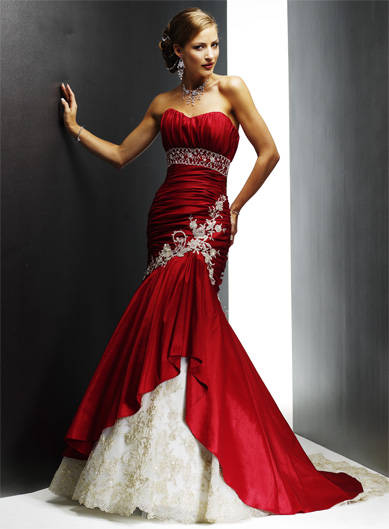 Tattoo new 2012 red and white prom dresses for Red and white wedding dresses 2012