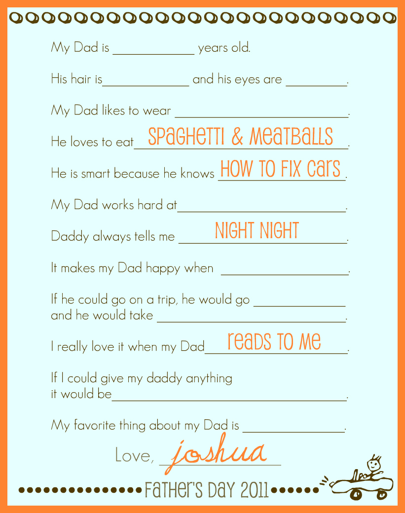 Simply Montessori Printable Fathers Day Interview Poster