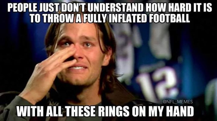 people just don't understand how hard it is to throw a Fully Inflated football, with all these rings on my hand