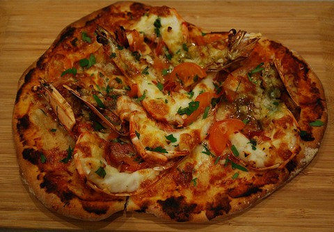 Tiger prawn pizza
