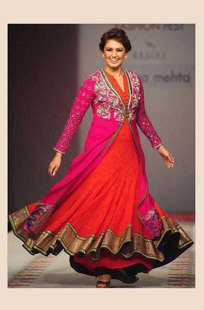 1835 - Huma Qureshi in Pink and Orange Floor Length Anarkali suit