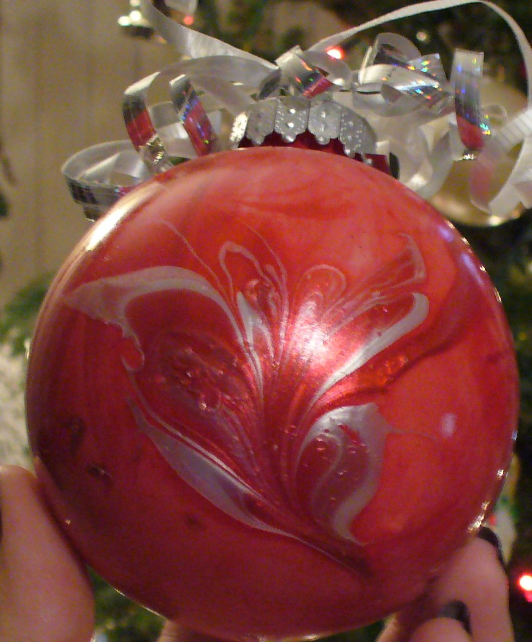 Christmas Ornaments Nail Polish : Marble christmas ornaments with nail polish a sparkly