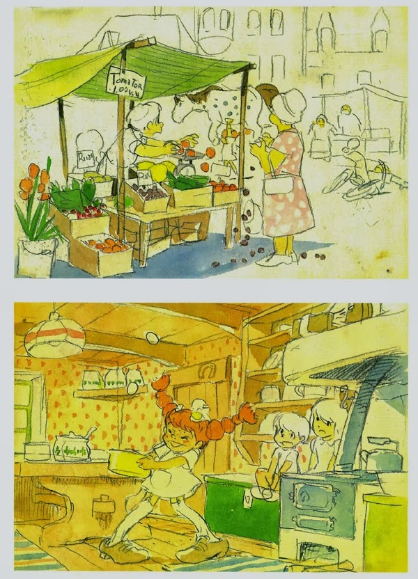 Pippi Calzaslargas bocetos por Hayao Miyazaki